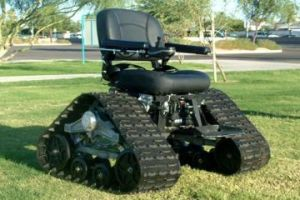 A wheelchair with terrain tracks
